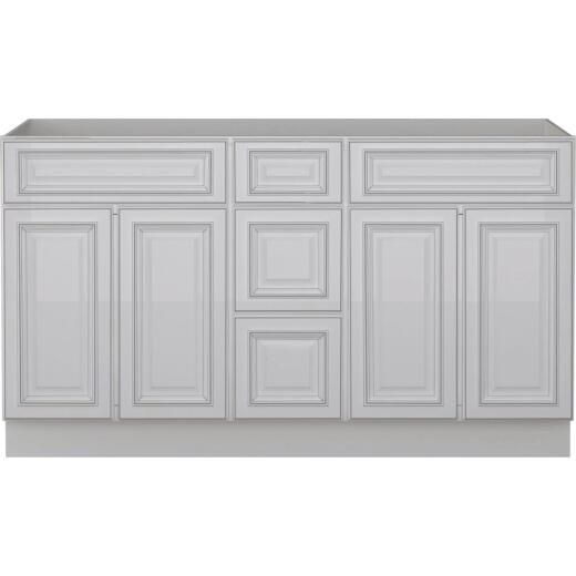 Sunny Wood Riley White with Dover Glaze 60 In. W x 34-1/2 In. H x 21 In. D Vanity Base, 4 Door/2 Drawer
