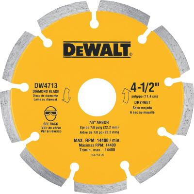 DeWalt Extended Performance 4-1/2 In. Segmented Rim Dry/Wet Cut Diamond Blade (Bulk)