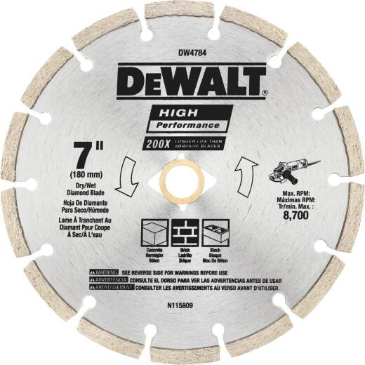 DeWalt High Performance 7 In. Segmented Rim Dry/Wet Cut Diamond Blade