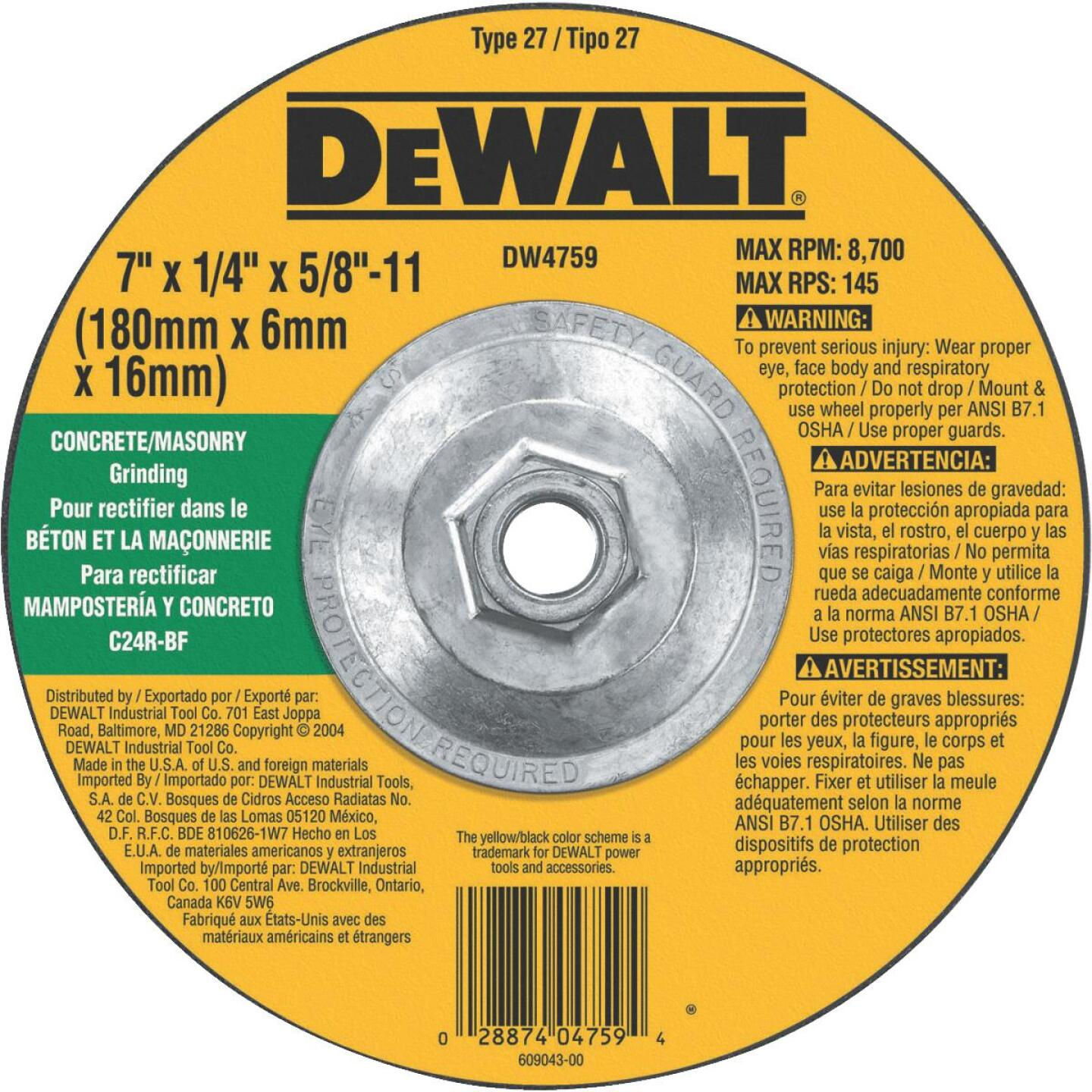 DeWalt HP Type 27 7 In. x 1/4 In. x 5/8 In.-11 Masonry Grinding Cut-Off Wheel Image 1